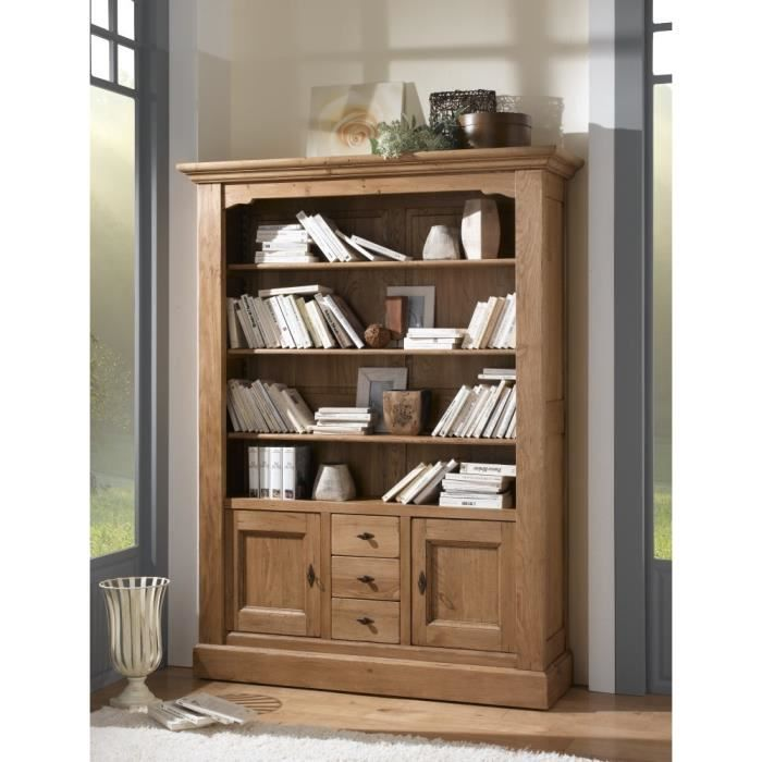 biblioth que nogaro chene massif achat vente. Black Bedroom Furniture Sets. Home Design Ideas