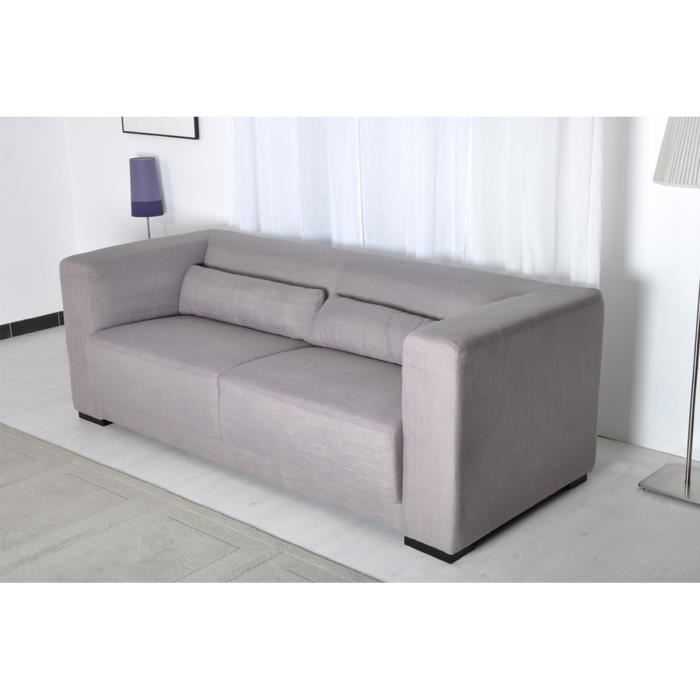 Canap fixe 3 places tissu gris taupe bruni achat for Canape fixe tissu 3 places