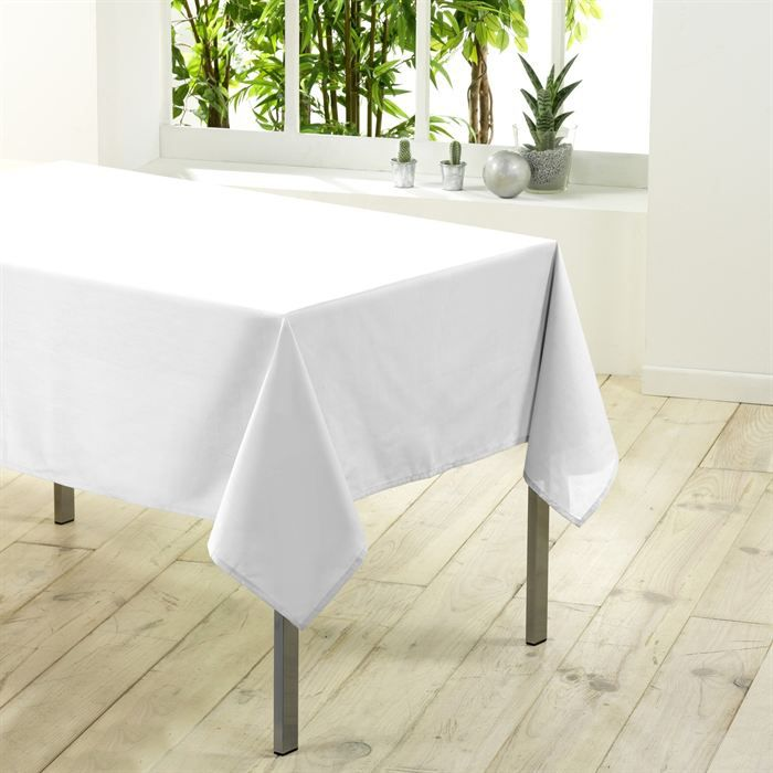 nappe rectangulaire unie en 250 cm essentiel blanc achat vente nappe de table cdiscount. Black Bedroom Furniture Sets. Home Design Ideas