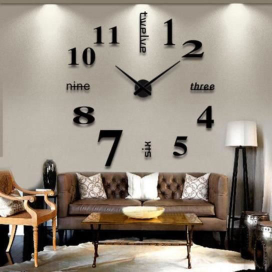 bricolage moderne grande horloge murale montre miroir 3d sticker d coration int rieure art. Black Bedroom Furniture Sets. Home Design Ideas