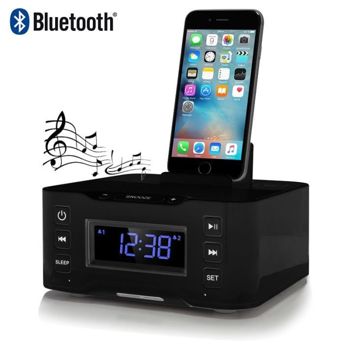 station d 39 accueil enceinte bluetooth noir pour apple iphone 7 iphone 7 plus station d. Black Bedroom Furniture Sets. Home Design Ideas