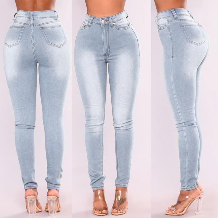 Pantalon Jeans Denim Femme Taille Haute Pantalon