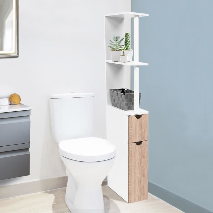 meuble wc tag re bois gain de place pour toilette 2 portes h tre achat vente meuble bas. Black Bedroom Furniture Sets. Home Design Ideas