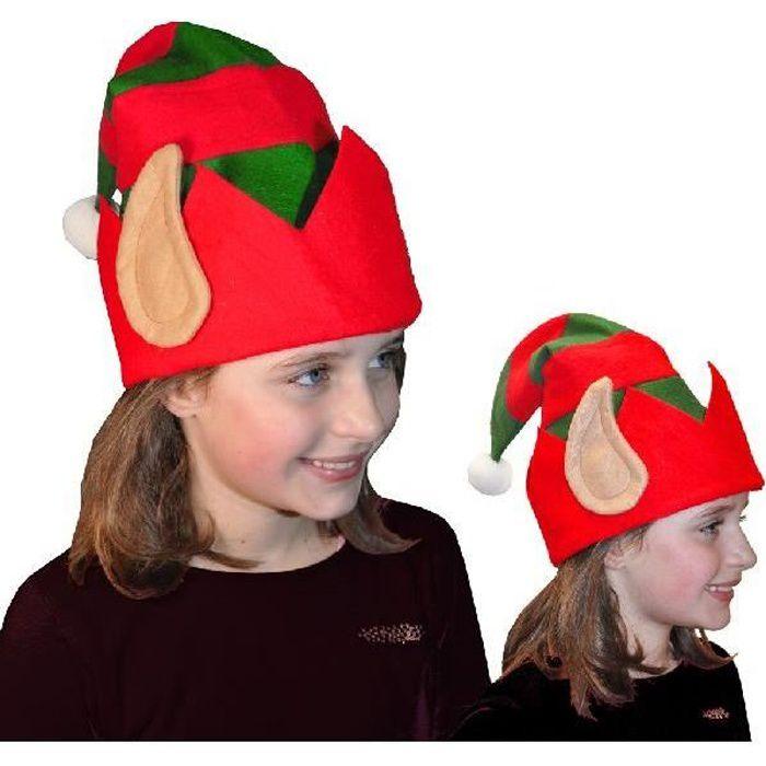 Enfants Femme Unisexe Elf Hat Avec Lutin Oreilles en rouge /& vert