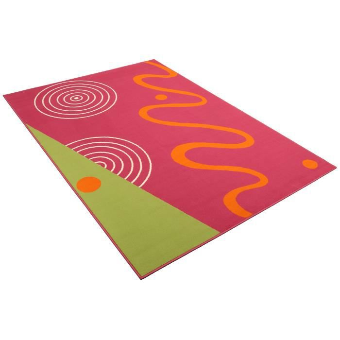 Tapis salon contemporain vert rose universol achat for Tapis salon contemporain