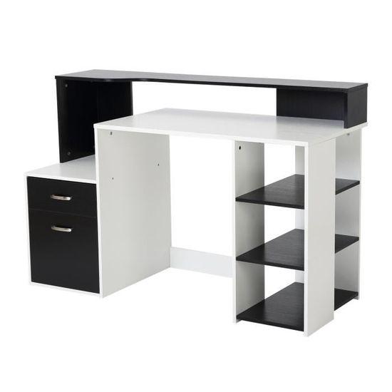 Bureau Informatique multim/édia Multi-rangements 120 L x 55 l x 85 H cm Blanc