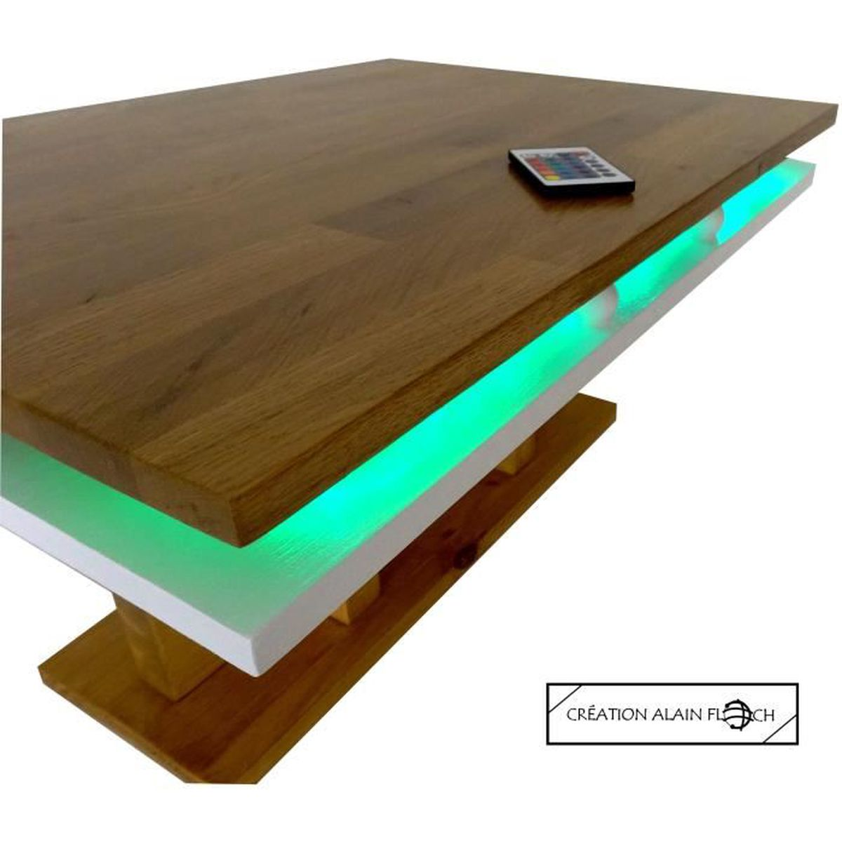 table basse guatemala design unique alain floch 100 bois massif avec eclairage 40 led 16. Black Bedroom Furniture Sets. Home Design Ideas