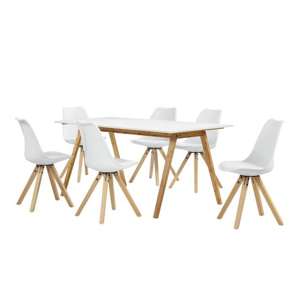 Table manger bambou blanc avec 6 chaises blanc for Table a manger chaises