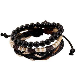BRACELET - GOURMETTE Noir Vintage Tressage Bracelets en Bois Bijoux que