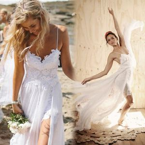 ROBE Robe de mariée longue blanche, fendue, pour femmes