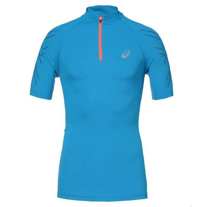 ASICS T-shirt de running Inner Muscle - Homme - Demi zip - Bleu et orange