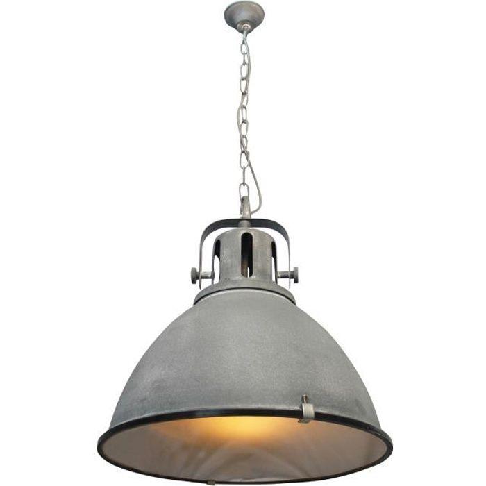 Lustre - suspension style industriel avec diffuseur en verre Jesper diamètre 47 cm E27 60 W gris ciment
