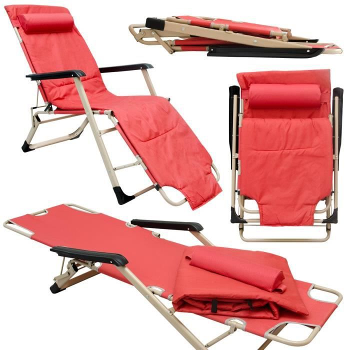 Chaise Longue pliante - Transat 178cm pliant et inclinable - appuie-tête et coussin amovibles - en acier poids supporté 150kg -Rouge