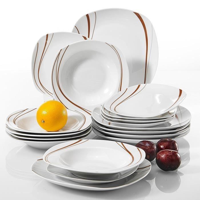 Veweet BONNIE 18pcs Assiettes Service de Table Pocelaine Assiettes Plates Assiette Creuse Assiette à Dessert Vaisselles