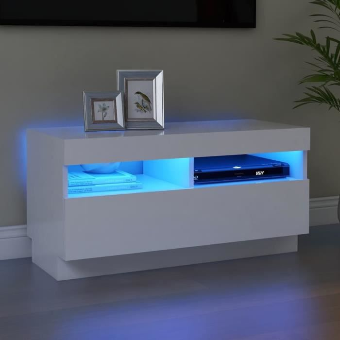 MAGIC®Meuble banc TV - Meuble TV avec lumières LED-Meuble Television moderne Blanc 80x35x40 cm Meuble de salon,80 x 35 x 40 cm Haut