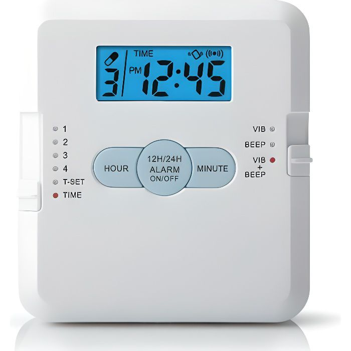 Boîte de médicaments pilulier avec alarme - 4 compartiments - 3 modes - Affichage de l'heure sur écran LCD