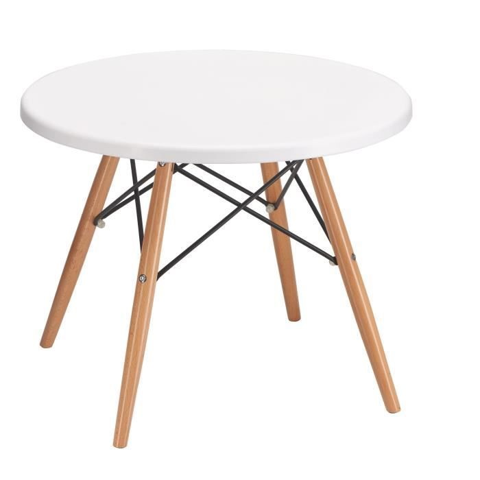 Table basse ronde Marty - plateau blanc