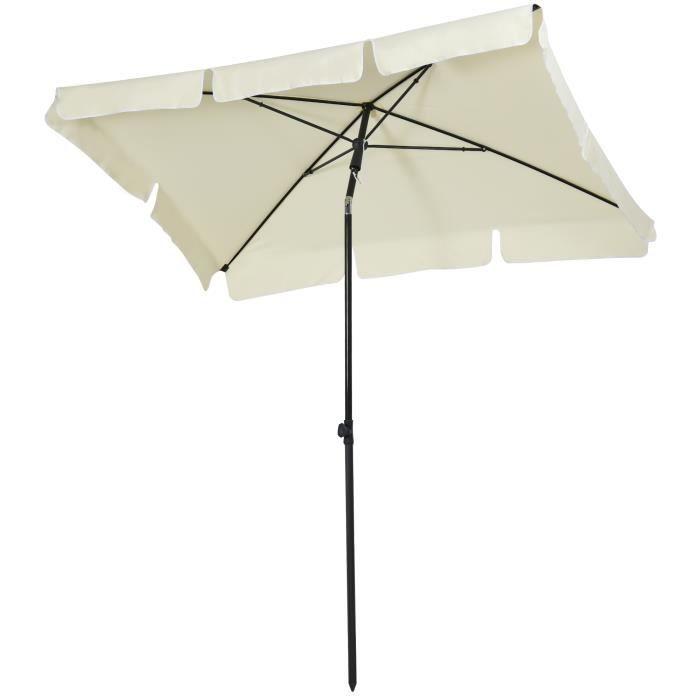 Parasol rectangulaire inclinable alu acier polyester haute densité diamètre 2 m beige clair neuf 16CW