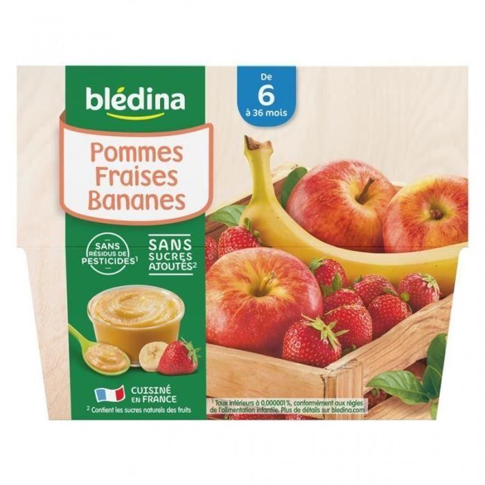 Blédina Pommes Fraises Bananes (de 6 mois à 36 mois) par 4 pots de 100g (lot de 6 soit 24 pots)