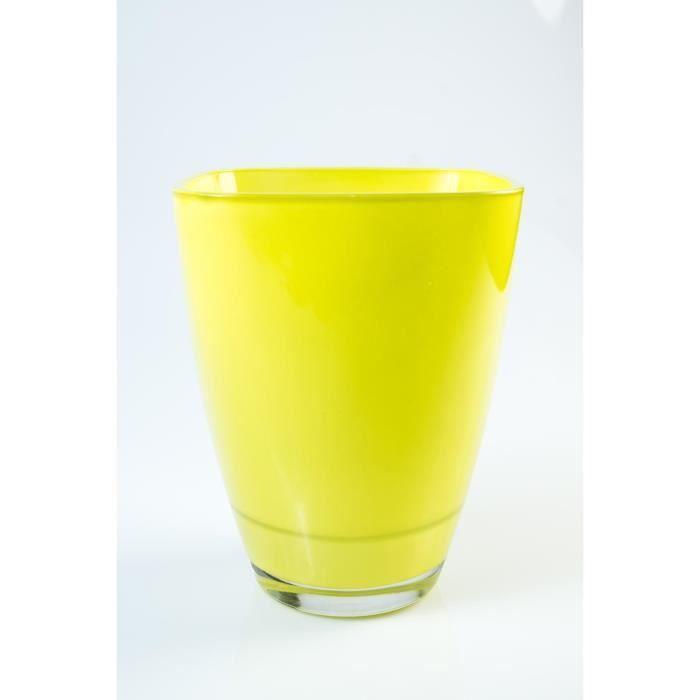 Vase carré en verre YULE, vert clair, 17 x 13 x 13 cm - Vase à fleurs - Vase design - INNA Glas