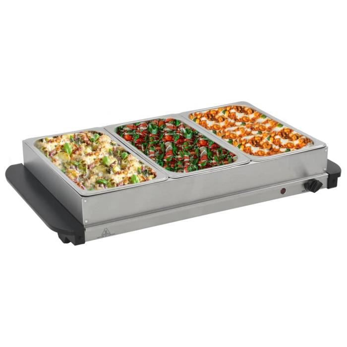 Serveur buffet Portable Plaque - Chauffe-Plats Chafing Dish - Acier inoxydable 300 W 3x2,5 L