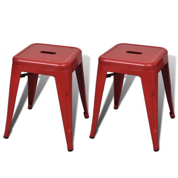 SALON*7772Parfait Lot de 2 Tabouret de Bar Design Industriel - Tabourets empilables Tabouret Haut Chaise de Bar Rouge Métal