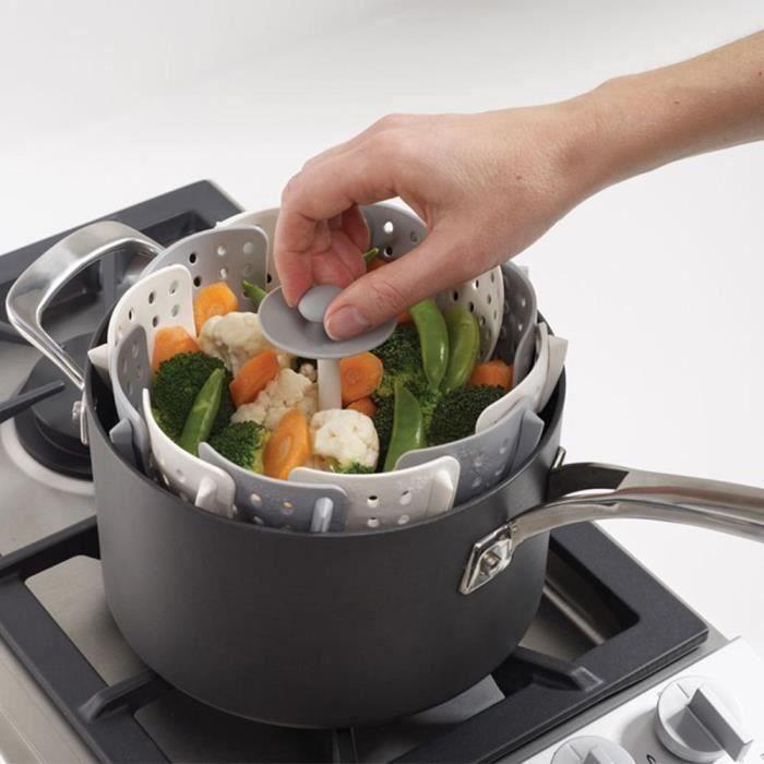 EFUTURE Cuiseur Vapeur en silicone pour Légumes gris