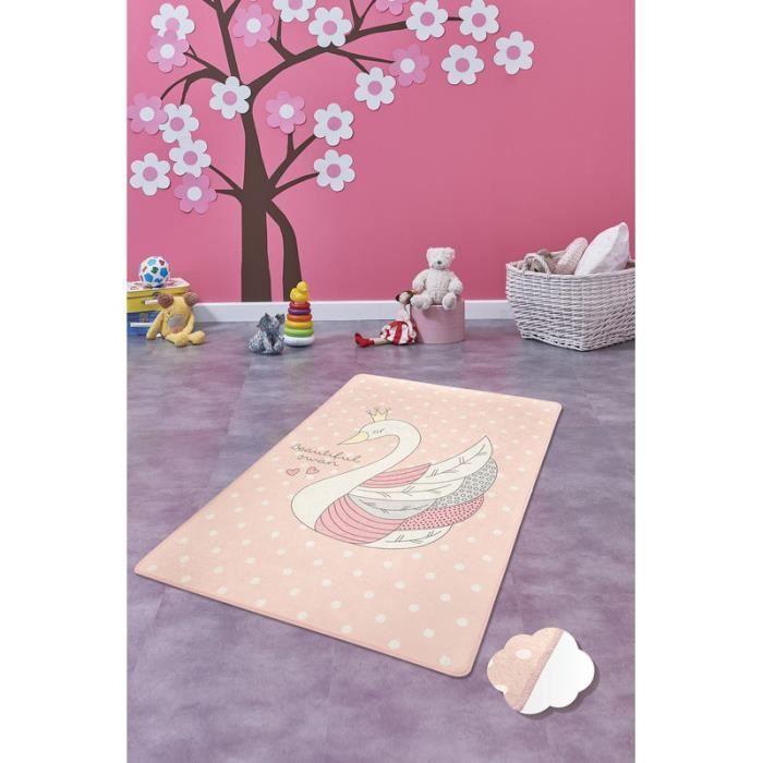 Nerge.be - Swan Pink - 100x160 cm - Tapis de jeu pour enfants Cygne Chambre à coucher Salle de jeux salon Animal 100cm X 160cm