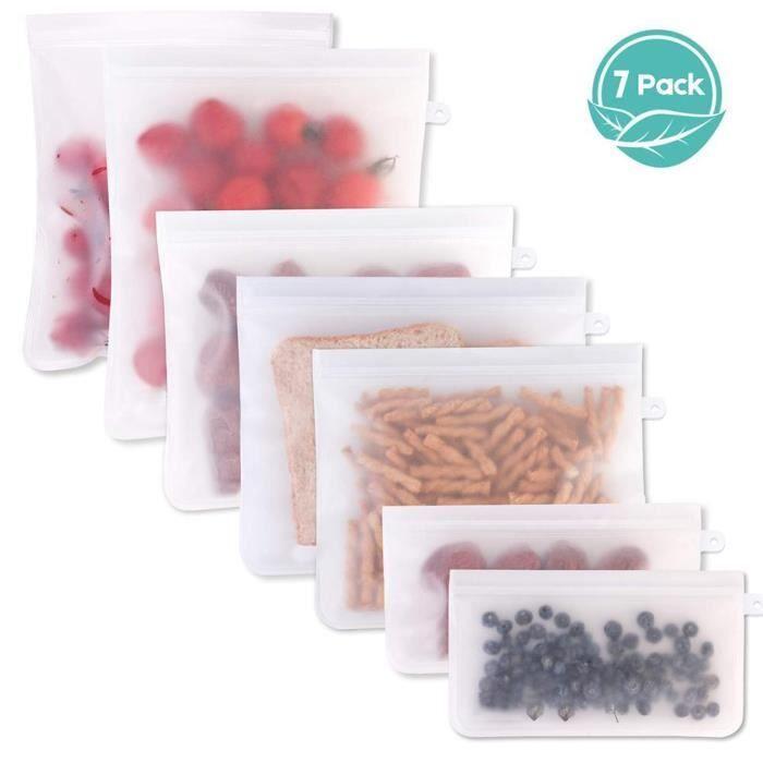 Emballage alimentaire,10 pièces réutilisable PEVA Silicone sac de stockage des aliments sac de congélateur étanche - Type 7 pcs #B