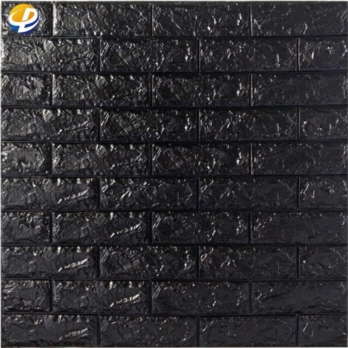 BRMSM-20 pcs 70cm*77cm 3D relief Sticker Autocollant Papier Peint brique blanc 3D Revetement Mural - Noir, 6 mm d'épaisseur