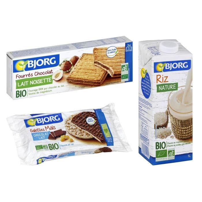 Lot de 3 - 1 BJORG Fourrés de chocolat au lait et noisettes 225g + 1 Boisson riz 1l + 1 Galette de maïs chocolat au lait 100g