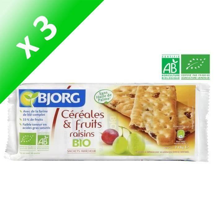[LOT DE 3] BJORG Biscuits Céréales Fruits Raisins Bio 218g