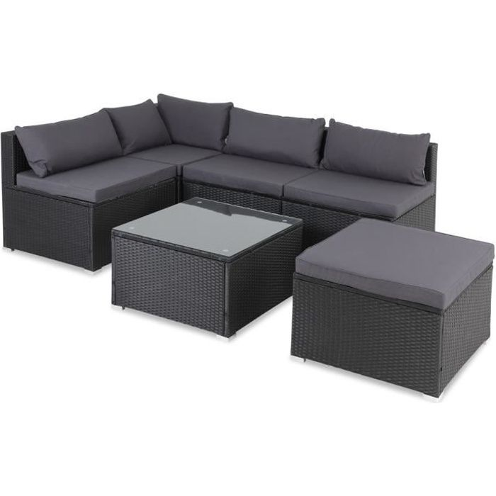 Salon de jardin noir polyrotin 16 pièces lounge ensemble de jardin set table canapé de jardin modulable coussins anthracite housses