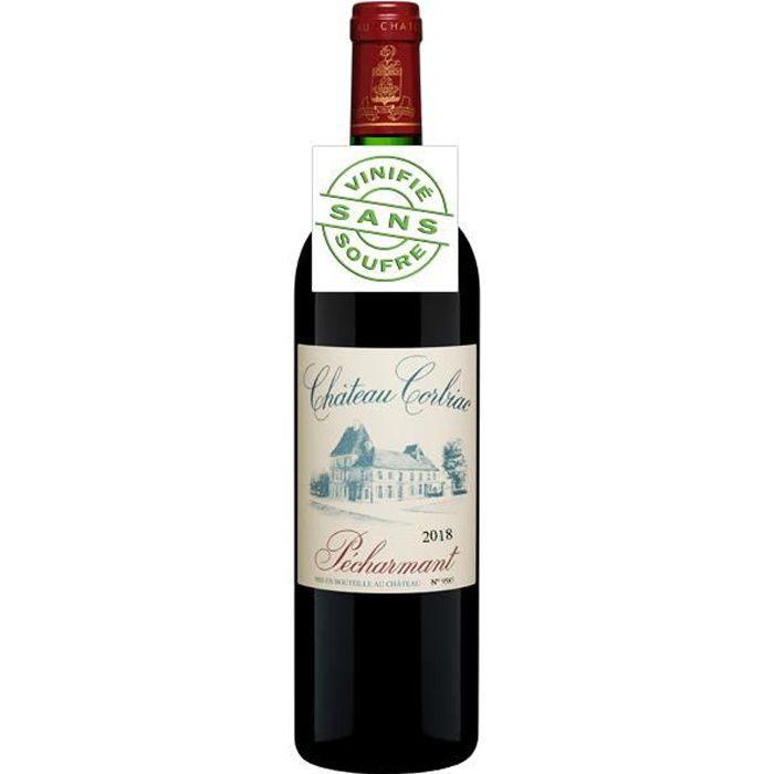 Château Corbiac Pécharmant AOC 2018 vin rouge vinifié sans soufre - 1 x 75cl.