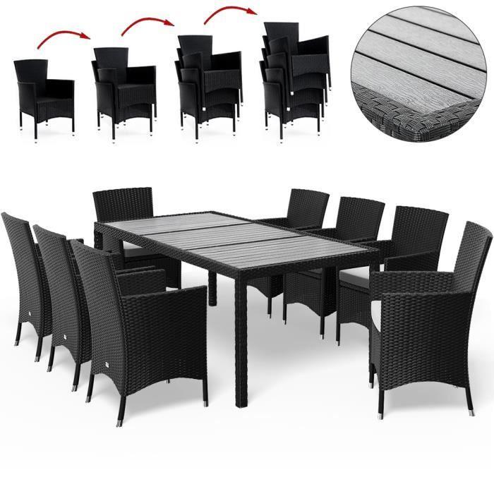 Salon de jardin 17 pièces en polyrotin Chaises empilables Jardin terrasse