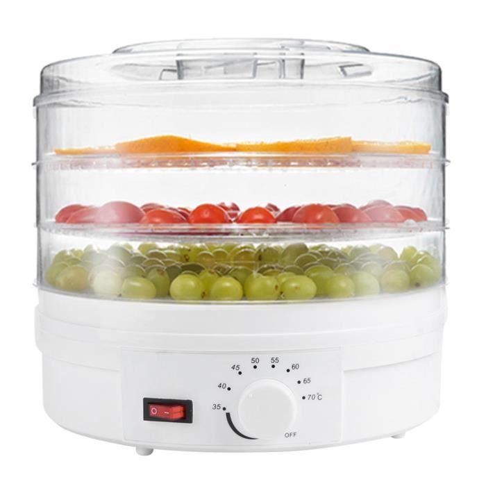 Garosa Déshydrateur de fruits Mini Séchoir à Aliments Transparent Déshydrateur à 3 Couches de Matières Médicinales aux