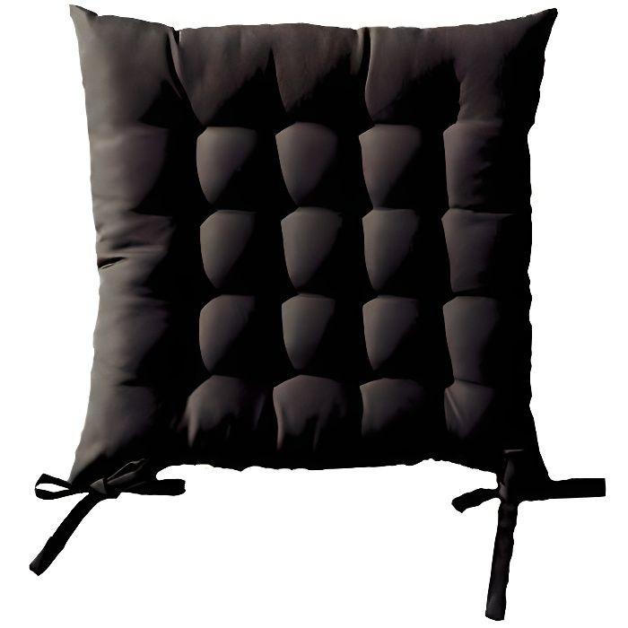 Galette de chaise matelassée carrée - Noir