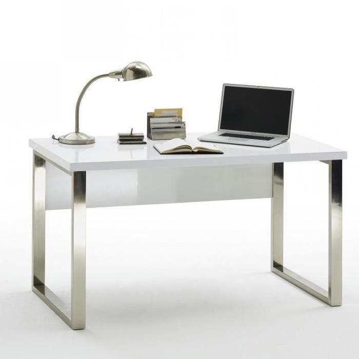 Bureau ALTONA laqué blanc brillant piétement métal chromé blanc Metal Inside75