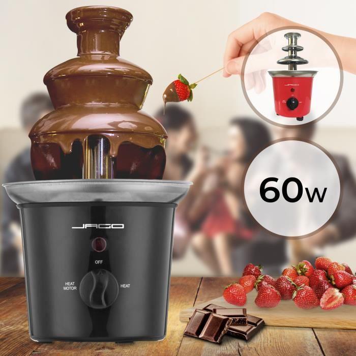 Jago® Fontaine à Chocolat - 60 W, 3 Étages, Capacité 400 g, Électrique, en Acier Inoxydable, Noir - Fondue au Chocolat, Fruits