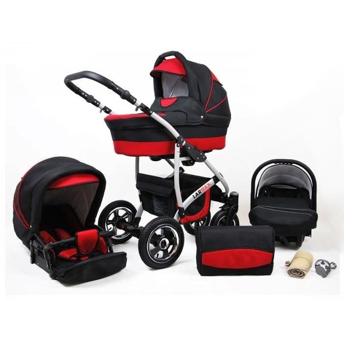 Lux4kids Poussette combinée Landau roues pivotantes Poussette Canne Nacelle Accessoires Larmax noir & rouge 3en1 avec siège bébé