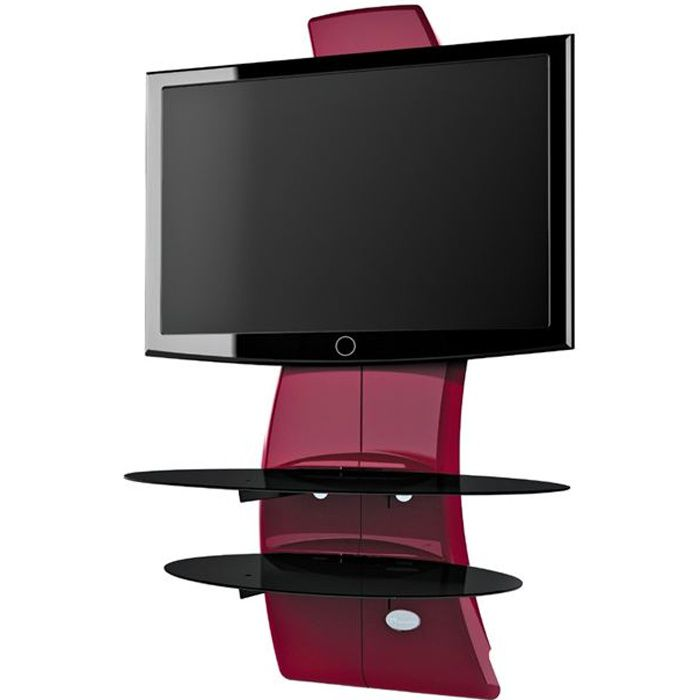 MELICONI GHOST DESIGN 2000 Mobilier mural pour TV 32 à 63- - 1 Support TV + 2 étagères -Rouge métal