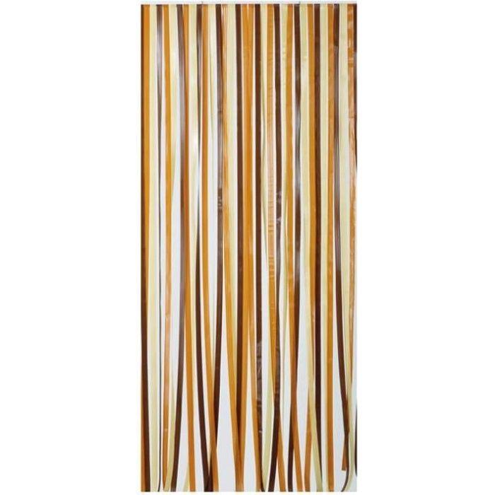MOREL - Rideau de porte polyéthylène Antilles brun et beige 100x220 cm