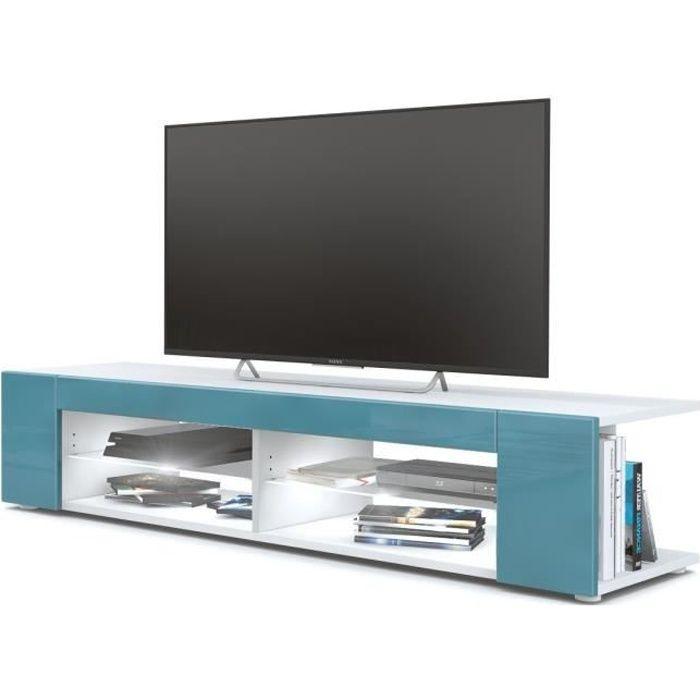 Meuble Tv blanc mat Façades en turquoise laquées led Blanc