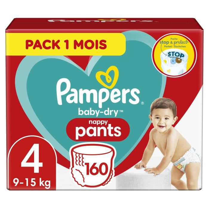 PAMPERS Baby-Dry Pants Taille 4 , 9-15kg, 160 Couches - Pack 1 Mois