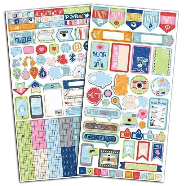 Set de 2 planches de stickers fantaisie sur le thème des réseaux sociaux. 330 stickers. Dimensions d'une planche : 15 x 30 cm. Sa...