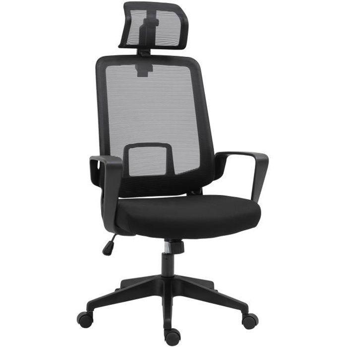 Fauteuil de bureau manager grand confort dossier ergonomique hauteur assise réglable appui-tête tissu maille noir 63x63x125cm Noir