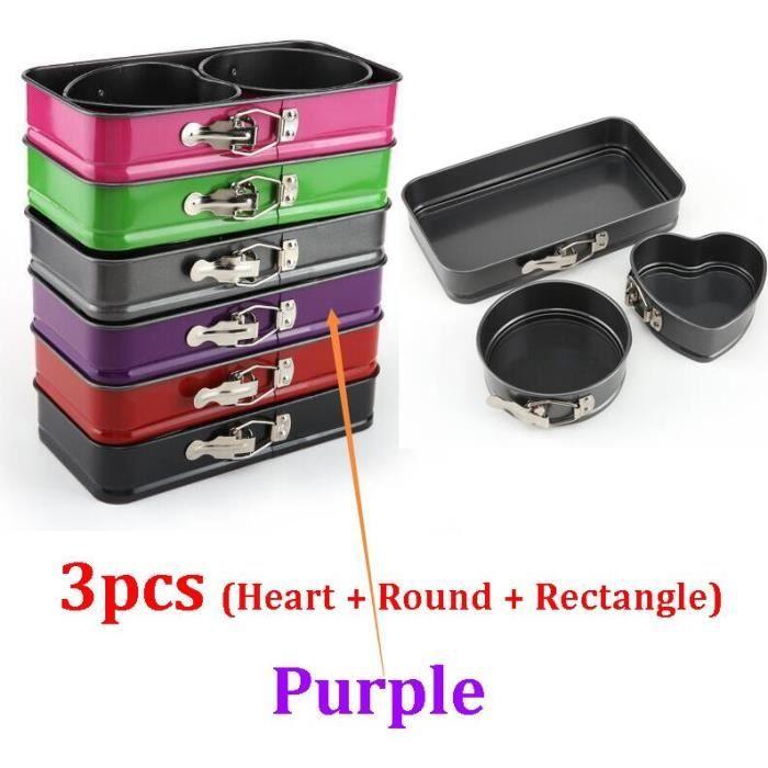 3pcs Purple -Moules à gâteaux en acier au carbone noir,forme carrée de Type cœur,Mini poêle à gâteau,moule de cuisson en métal an