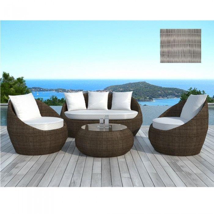Salon de jardin design Rondo gris Couleur Gris …