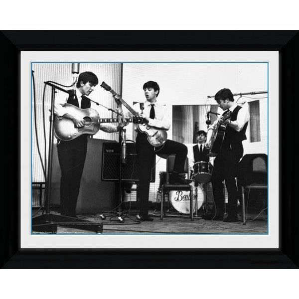 photo noir et blanc encadr e des beatles studio 30 x 40cm. Black Bedroom Furniture Sets. Home Design Ideas