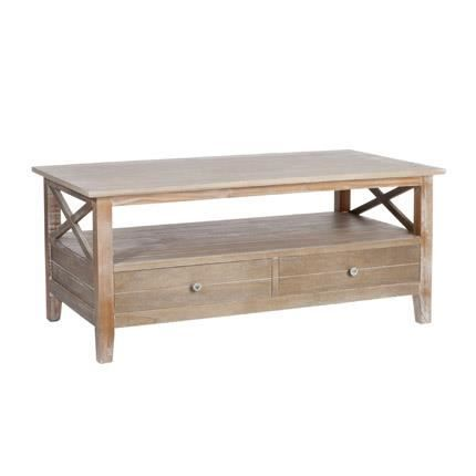 Table de salon 2 tiroirs en bois naturel achat vente table basse table de - Table salon cdiscount ...